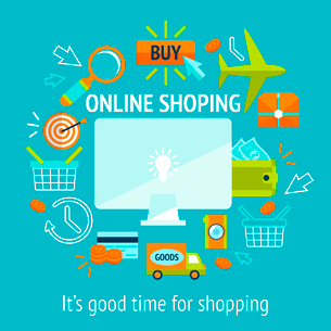 Online internet shopping concept with laptop and purchase commerce retail payment icons vector illusのイラスト素材 [FYI03091944]