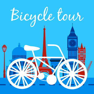 Bicycle tour poster with bike silhouette and landmarks on background vector illustrationのイラスト素材 [FYI03091945]