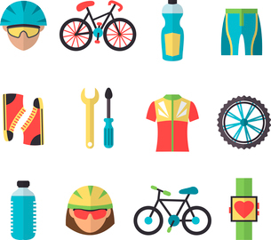 Bicycle sport fitness icons set with wheel clothes cyclist bottle isolated vector illustrationのイラスト素材 [FYI03091946]
