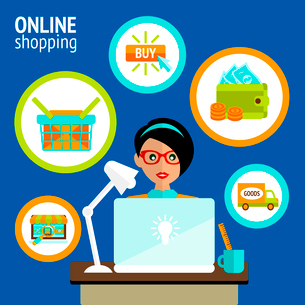 Business woman person on laptop in online shopping search buy payment delivery concept vector illustのイラスト素材 [FYI03091947]