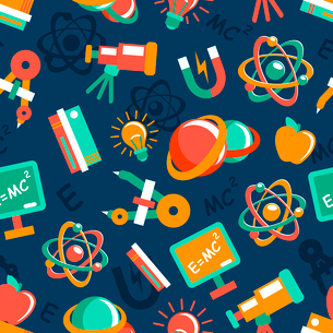 Physics equipment teaching and studying elements seamless wallpaper vector illustrationのイラスト素材 [FYI03091948]