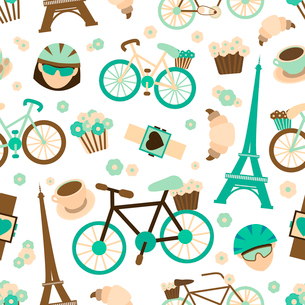 Bicycle french tour sport seamless pattern with bike croissant cyclist vector illustrationのイラスト素材 [FYI03091950]