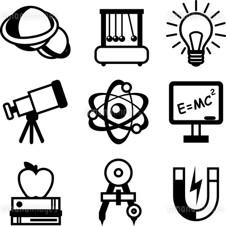 Physics science equipment teaching and studying black and white education icons set isolated vectorのイラスト素材 [FYI03091951]