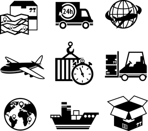 Logistic shipping freight service supply delivery black and white icons set isolated vector illustraのイラスト素材 [FYI03091953]