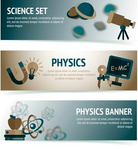 Physics science equipment school laboratory banners set isolated vector illustrationのイラスト素材 [FYI03091954]