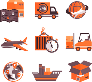 Logistic shipping freight service supply delivery icons set isolated vector illustrationのイラスト素材 [FYI03091955]