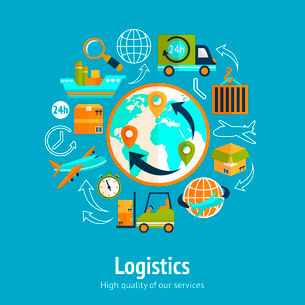 Logistic chain concept with globe and shipping freight service supply delivery icons vector illustraのイラスト素材 [FYI03091956]