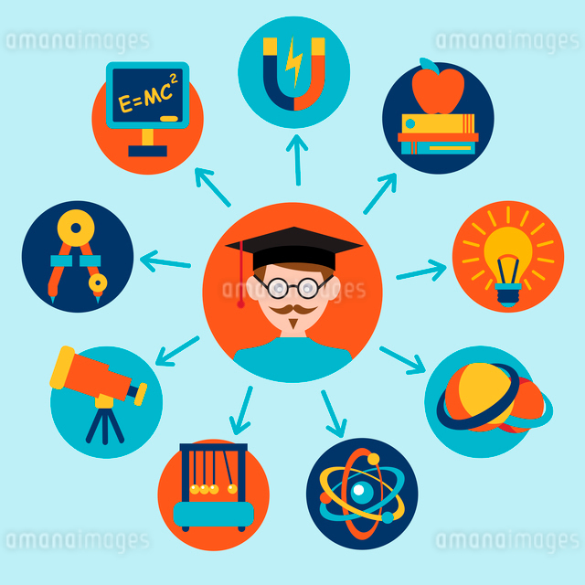 Physics science equipment school laboratory icons set with scientist isolated vector illustration.のイラスト素材 [FYI03091957]