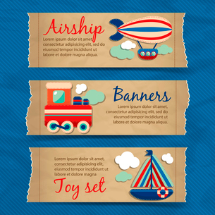 Toy transport torn paper cartoon travel banners set with train boat aerostat isolated vector illustrのイラスト素材 [FYI03091958]