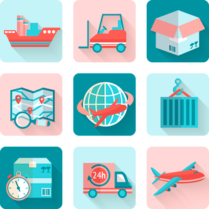 Logistic flat icons set of cargo ship delivery truck heavy box isolated vector illustrationのイラスト素材 [FYI03091959]