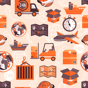Logistic shipping freight service seamless pattern with globe and arrows on background vector illustのイラスト素材 [FYI03091962]