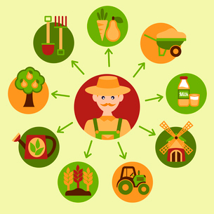 Farming harvesting and agriculture food icons set with farmer vector illustrationのイラスト素材 [FYI03091964]