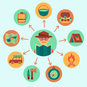Camping summer outdoor activity icons set with traveler vector illustrationのイラスト素材 [FYI03091966]
