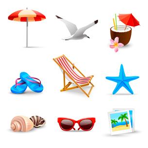 Realistic summer holidays seaside beach icons set isolated vector illustrationのイラスト素材 [FYI03091969]