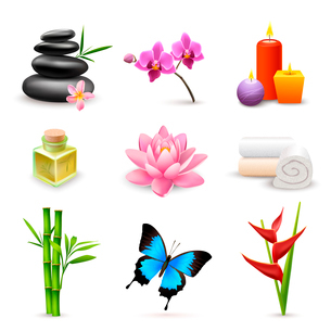 Realistic 3d spa beauty health care icons set with bamboo lotus candles isolated vector illustrationのイラスト素材 [FYI03091971]