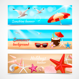 Summer holidays beach labels with seagull cocktail sea shell vector illustrationのイラスト素材 [FYI03091972]