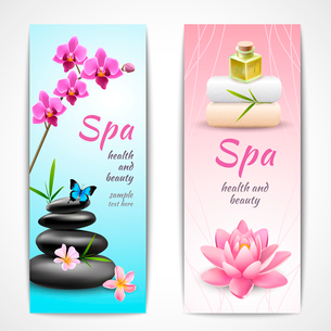 Spa beauty health care vertical banner set with orchids lotus butterfly isolated vector illustrationのイラスト素材 [FYI03091975]