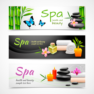 Realistic spa beauty health care banner set with stones towels candles isolated vector illustrationのイラスト素材 [FYI03091976]