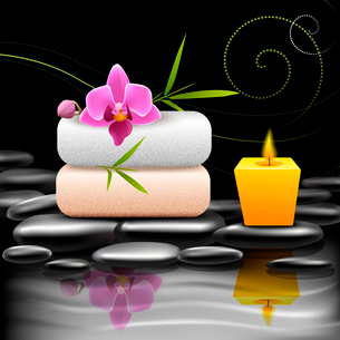 Realistic spa beauty health care decorative elements on dark background vector illustrationのイラスト素材 [FYI03091981]