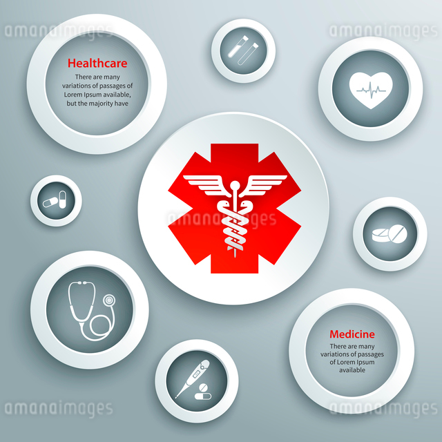 Medical emergency services paper symbols set with capsule stethoscope and healthcare icon isolated vのイラスト素材 [FYI03091982]