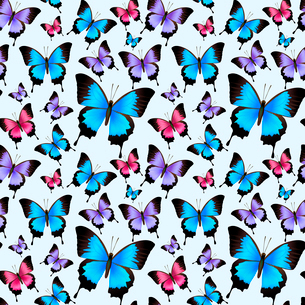 Decorative festive trendy colorful butterflies seamless design pattern vector illustration.のイラスト素材 [FYI03091987]