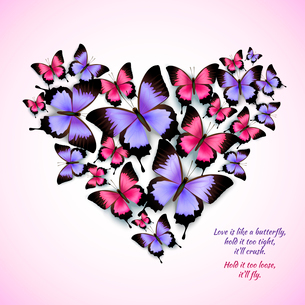 Decorative bright blue purple red trendy butterflies heart shape design pattern vector illustrationのイラスト素材 [FYI03091990]