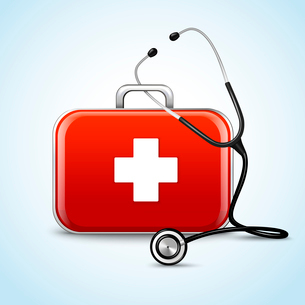 First aid healthcare concept with medical box and stethoscope vector illustrationのイラスト素材 [FYI03091993]