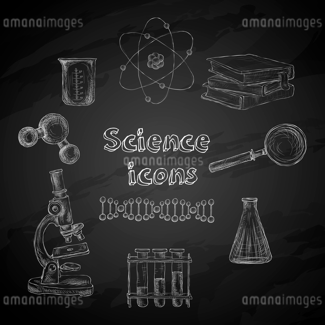 Science decorative chalkboard icons set with atom magnifier flask isolated vector illustrationのイラスト素材 [FYI03091995]
