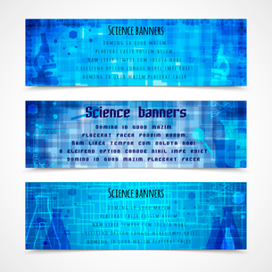 Science education modern banners with  flasks magnifier  microscope isolated vector illustrationのイラスト素材 [FYI03091998]