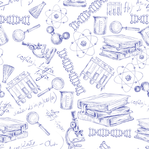Science sketch seamless pattern with microscope flask atom dna structure vector illustrationのイラスト素材 [FYI03091999]