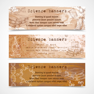 Science education sketch vintage banners with atom dna structure books microscope isolated vector ilのイラスト素材 [FYI03092000]