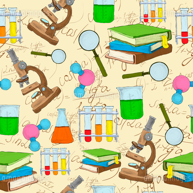 Science education sketch seamless background with book equation loupe vector illustrationのイラスト素材 [FYI03092001]