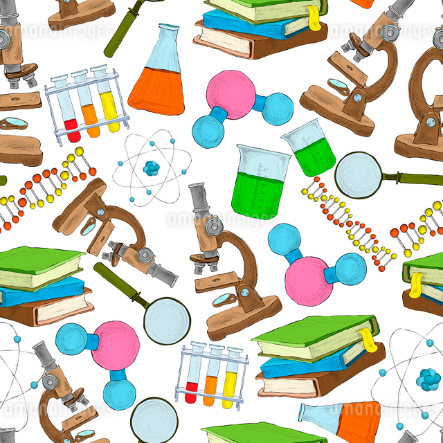 Science education sketch seamless wallpaper with atom structure flask laboratory equipment vector ilのイラスト素材 [FYI03092004]