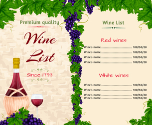 Vintage restaurant premium quality wine list card menu template with bottle and glass vector illustrのイラスト素材 [FYI03092009]