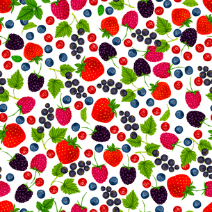 Natural organic berries seamless pattern with blueberry black currant cowberry vector illustrationのイラスト素材 [FYI03092011]