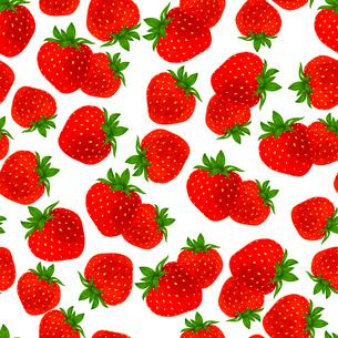 Natural fresh organic garden strawberries seamless pattern vector illustrationのイラスト素材 [FYI03092012]