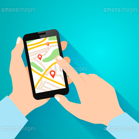 Hands holding smartphone with running navigation app vector illustrationのイラスト素材 [FYI03092019]