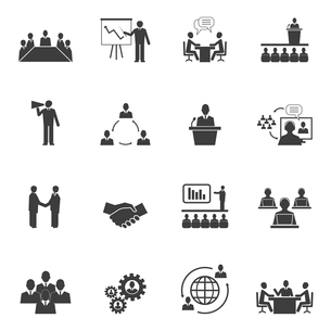 Business people online meeting strategic pictograms set of presentation online conference and teamwoのイラスト素材 [FYI03092026]