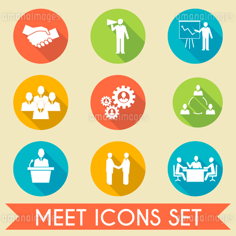 Business people meeting and collaborating strategic concepts pictograms icons set flat isolated vectのイラスト素材 [FYI03092028]