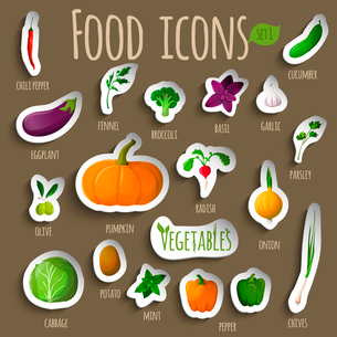 Food vegetables doodle stickers set of chili pepper eggplant fennel olive cabbage vector illustratioのイラスト素材 [FYI03092033]