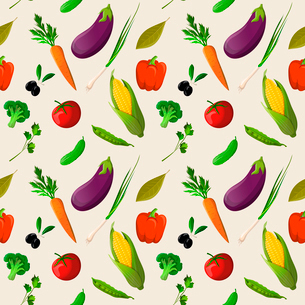 Vegetable organic food seamless pattern of tomato corn cucumber olive vector illustrationのイラスト素材 [FYI03092037]