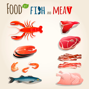Food fish and meat decorative elements collection of chicken shrimp bacon vector illustrationのイラスト素材 [FYI03092038]