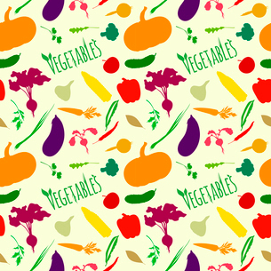 Vegetable organic food seamless pattern of parsley pumpkin carrot eggplant vector illustrationのイラスト素材 [FYI03092043]