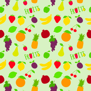 Fresh natural fruit seamless pattern with pineapple plum pear cherry vector illustrationのイラスト素材 [FYI03092044]