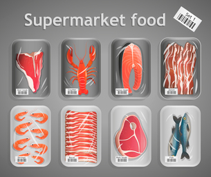 Frozen fresh fish and meat supermarket food in pack decorative elements vector illustrationのイラスト素材 [FYI03092046]