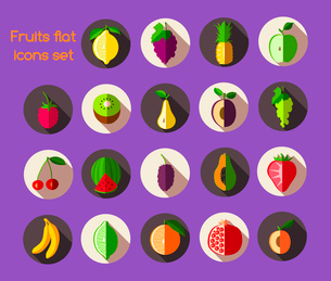 Natural organic fruits and berries flat icons set isolated vector illustrationのイラスト素材 [FYI03092047]