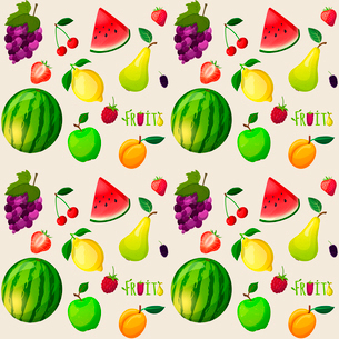 Fresh natural fruit seamless pattern with watermelon banana apple papaya vector illustrationのイラスト素材 [FYI03092048]