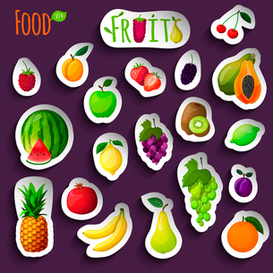 Fresh natural fruit stickers with apple lime lemon orange isolated vector illustrationのイラスト素材 [FYI03092049]