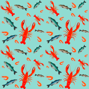 Lobster sea food mint parsley lemon olive seamless pattern vector illustrationのイラスト素材 [FYI03092050]
