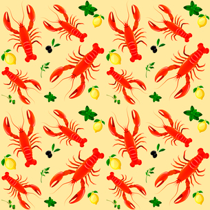 Lobster sea food mint parsley lemon olive seamless pattern vector illustrationのイラスト素材 [FYI03092051]